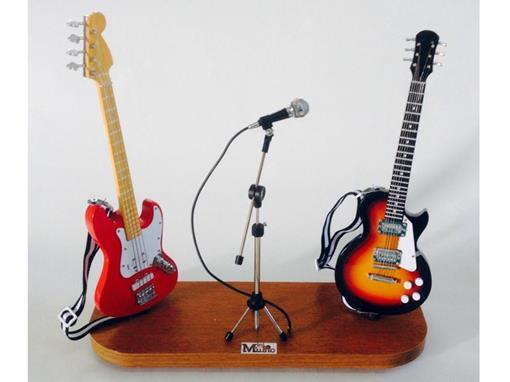 Set: Miniatura de Baixo Elétrico Jass Bass (Vermelho) + Microfone + Guitarra Les Paul (Sun Burst) - 1:4