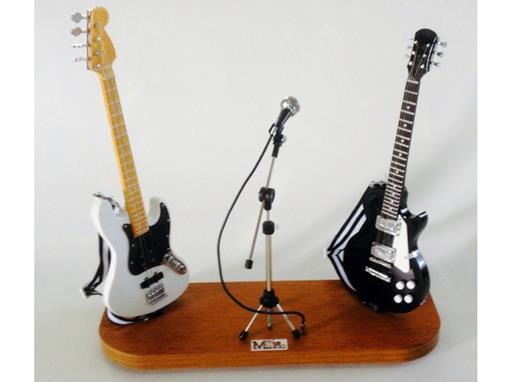 Set: Miniatura de Baixo Elétrico Jass Bass (Branco) + Microfone + Guitarra Les Paul (Preta) - 1:4