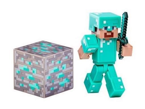 Boneco Steve com Armadura de Diamante - Minecraft - Multikids