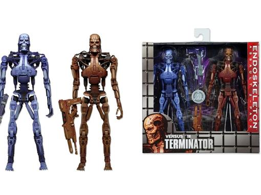 Bonecos Blue and Red T-800 Endoskeleton - Robocop Vs Terminator - (Pack 2) - Neca