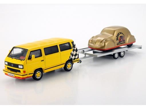 Volkswagen: Bus T3b c/ Reboque e Volkswagen Beetle/Fusca Velado - 1:43