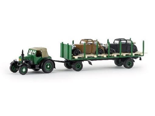 Lanz Bulldog: c/ reboque de transporte com 2 DKW - HO