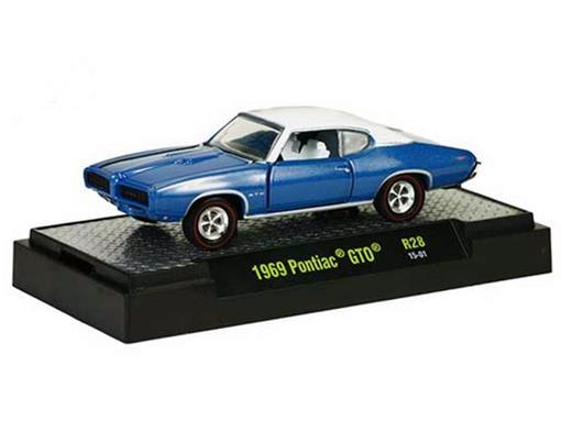 Pontiac GTO (1969) - Azul e Branco - 1:64 - M2 Machines
