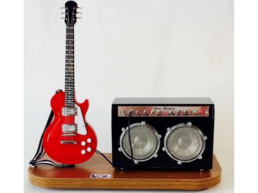 Set: Miniatura de Guitarra Les Paul + Amplificador Médio (Vermelho) - 1:4