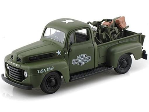 Ford: F-1 Pickup (1948) - 1:24 c/ Moto Wla Flathead (1942) - 1:24 - Maisto