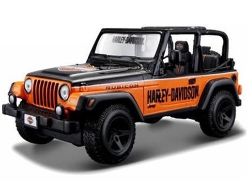 Jeep: Wrangler Rubicon - Preto e Laranja - 1:24 - Maisto