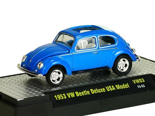 Volkswagen: Beetle / Fusca Deluxe USA Model (1953) Azul - M2 Machines - 1:64
