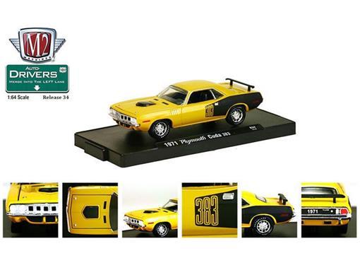 Plymouth: Cuda 383 (1971) - Auto Drivers - Amarelo - 1:64 - M2 Machines