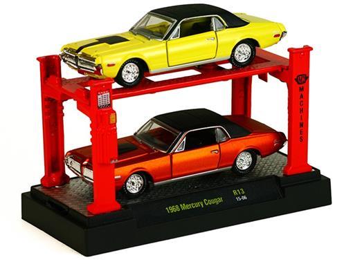 Set: Ford Mercury Cougar (1968) - Amarelo / Laranja - 1:64 - Auto Lift