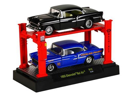 Set: Chevrolet Bel Air (1955) - Preto/ Azul - 1:64 - Auto Lift