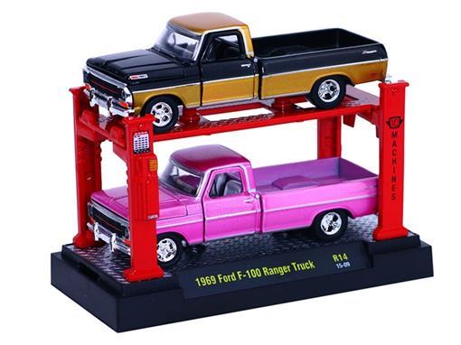 Set: Ford F-100 Ranger Truck (1969) - Preto e Dourado/ Rosa - 1:64 - Auto Lift
