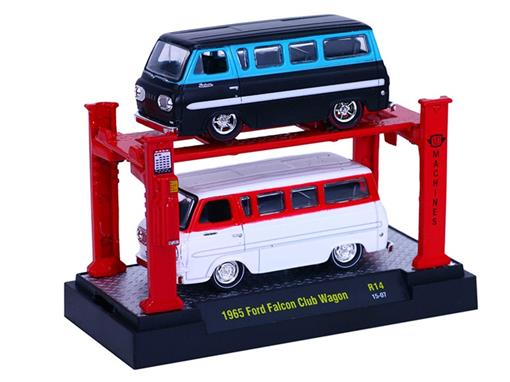 Set: Ford Falcon Club Wagon (1965) - Preto/ Branco - 1:64 - Auto Lift