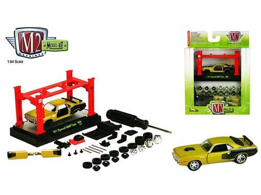Plymouth: HEMI Cuda (1971) - Kit Montar - Amarelo / Preto - 1:64 - M2 Machines