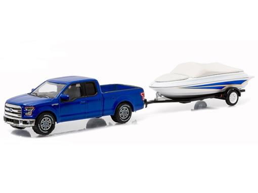 Ford: F-150 c/ Trailer (Barco) 2015 - Série 6 - Hitch & Tow - 1:64 - Greenlight