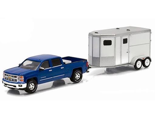 Chevrolet: Silverado 1500 c/ Horse Trailer (2015) - Hitch & Tow - Série 6 - 1:64 - Greenlight
