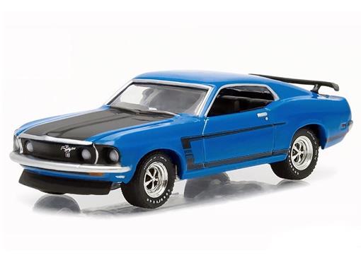 Ford: Mustang Boss 302 (1969) - Banett Jackson - Série 1 - Azul - 1:64 - Greenlight