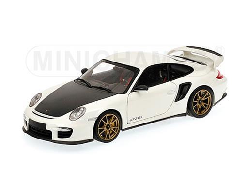 Porsche: 911 (997 II) GT2 RS (2011) - Branco / Dourado - 1:18 - Minichamps