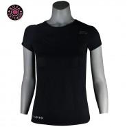 Camiseta Básica Fitness Biotech Vazado Rosa Tatuada