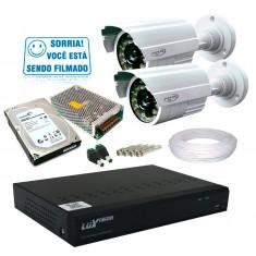 Kit PPA 2 Câmeras de Segurança Infra Dvr 4 Canais Acesso Remoto via Celular + HD 1TB