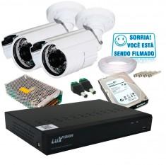 Kit 2 Câmeras de Segurança Infra AHD 3,6mm com Dvr 4 Canais AHD + HD 1TB