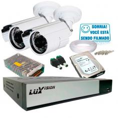 Imagem - Kit 2 C�meras de Seguran�a Infra AHD 3,6mm com Dvr 4 Canais AHD + HD 1TB