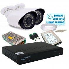 Kit 2 Câmeras de Segurança Infra e Dvr 4 Canais AHD + HD 1TB