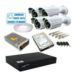 Kit 4 Câmeras de Segurança Infra AHD 3,6mm com Dvr 8 Canais AHD + HD 1TB
