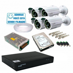 Kit 4 Câmeras de Segurança Infra Dvr 8 Canais Acesso Remoto via Celular + HD 1TB