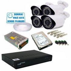 Kit 4 Câmeras de Segurança Infra e Dvr 8 Canais AHD + HD 1TB