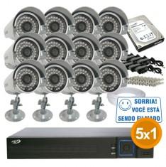 Kit Cftv Completo 12 Câmeras Infra até 25 metros com Dvr 16 Canais PPA + HD