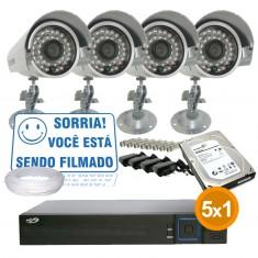 Kit Cftv Completo 4 Câmeras Infra até 25 metros com Dvr 4 Canais PPA + HD