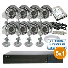 Kit Cftv Completo 8 Câmeras Infra até 25 metros com Dvr 8 Canais PPA + HD
