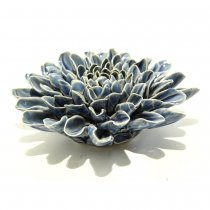 Escultura Cerâmica Flor Azul