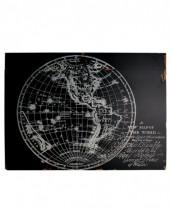 Baú Madeira Mapa Preto 66x40x50cm