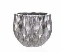 Cachepot Cerâmica Prata  18cm