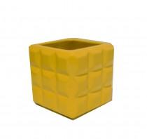 Cachepot Cer�mica Quadrado Amarelo 13 cm