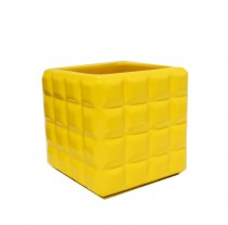 Cachepot Cer�mica Quadrado Amarelo 18 cm