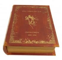 Caixa Livro Couro Vermelho P 19x14 cm