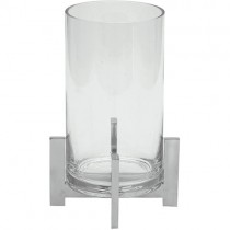 Castiçal Vidro Base Metal 25cm