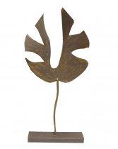 Escultura Folha Ferro Marrom 68cm