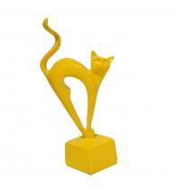 Escultura Gato Amarelo 25 cm