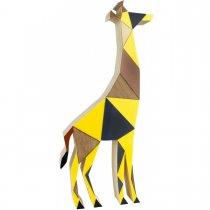 Escultura Girafa Madeira 34cm