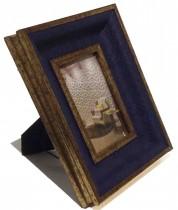 Porta retrato Couro Azul 10x15 cm