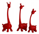 Trio de Girafas Vermelhas