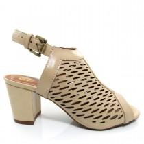 Imagem - Sandália Feminina Of Shoes 6175 Salto Grosso Couro - 003338