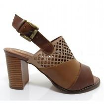 Imagem - Sandália Feminina Of Shoes 6176 Salto Grosso Couro - 003339