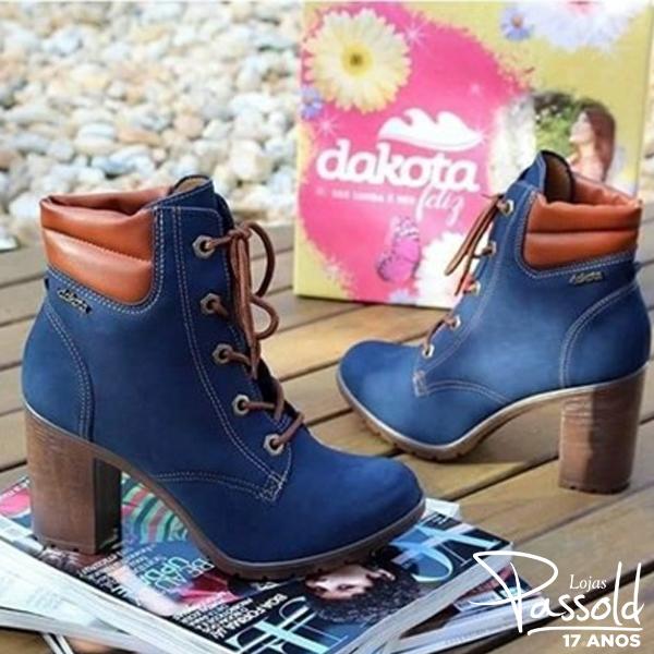 d9ecdd91c Coturno Dakota Salto Grosso Azul Marinho Preto B8031
