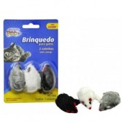 Brinquedo Para Gatos 3 Ratinhos Com Catnip