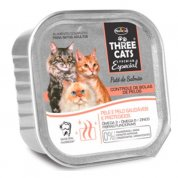 Ração Úmida Patê de Salmão Three Cats Controle de Bolas de Pelo 90g