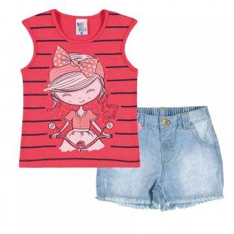 Imagem - Conjunto Regata com Short Jeans Menina